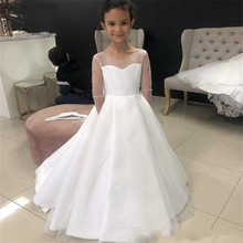 Sweetheart Long Sleeve Satin Flower Girl Dresses Sheer Jewel Neck A Line Party Birthday Dress with Bow Backless First Communion