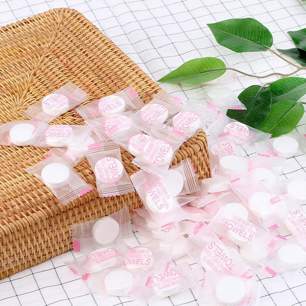 50pcs/lot Magic Tissue Disposable Mini Portable Hand Cleaner Face Compressed Care For Outdoor Towel Travel Cotton L6G1