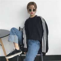 Harajuku Style Sleeves Three Bars Loose Fit Stripes Students Long Sleeve Pullover Hoody plus Velvet Couples Tops