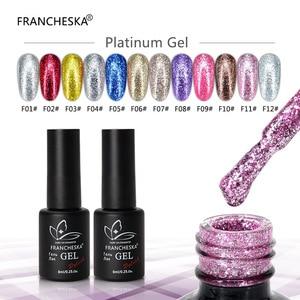 FRANCHESKA 8ml Nail Platinum Glel UV Glitter Sequin Nail Gel Nail Polish Soak Off Manicure Shiny Salon Gel Nails Art nail polish