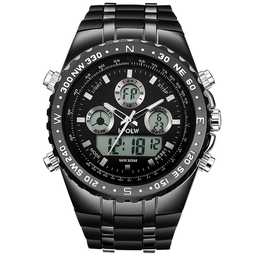 גברים של יוקרה אנלוגי הדיגיטלי קוורץ שעון חדש מותג HPOLW מזדמן שעון גברים G סגנון עמיד למים ספורט הלם צבאי שעונים