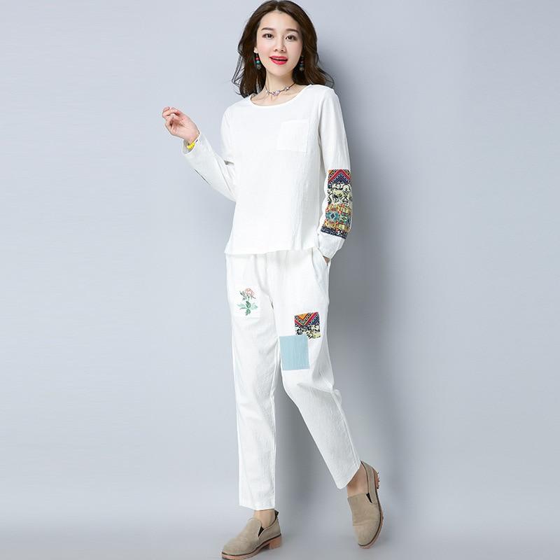 2019 Autumn New Style Retro National Wind WOMEN'S Dress Applique Long Sleeve Cotton Linen Tops + Baggy Pants Fashion Leisure Sui