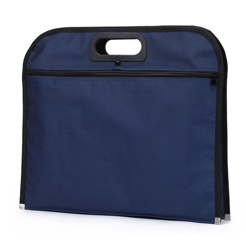 Multipurpose Travel Blue Handbag File Bag Conference Scratch Proof Document Holder Business Solid Zipper Closure Oxford Cloth