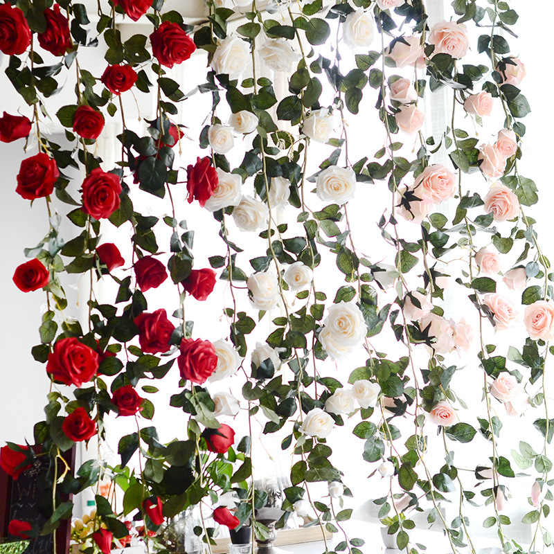 180 ซม.ประดิษฐ์ Rose ดอกไม้ Ivy VINE Wedding Decor Real TOUCH ผ้าไหมกับใบสำหรับแขวน Garland decor