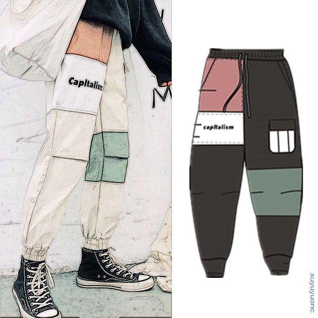 Cargo Pants Men Hip Hop Patchwork Joggers Harem Pants Ankle Length Trousers Techwear 1