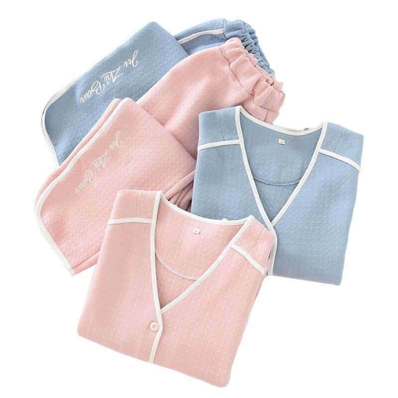 2019 Fall Autumn New Ladies Simple Style Pajamas Set V-Neck Comfort Warm Cotton Sleepwear Set Women Sweet Pink Tender Homewear