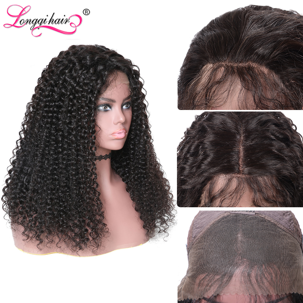Longqi Cambodian Curly Human Hair Wig High Ratio 150% 13x4 13x6 Lace Front Wig Human Hair Pre Plucked Swiss Lace Wig 10- 24 Inch