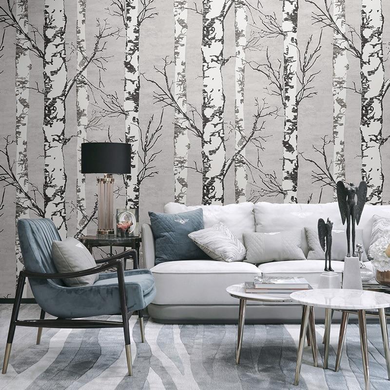 Gris blanc bouleau arbre 3D PVC papier peint pour magasin de tissu moderne nordique Design café maison restaurant papier peint rouleau forêt bois