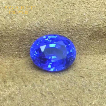 certified loose gemstone for jewelry making GFCO 1.67ct Burma natural unheated cornflower blue sapphire stone 1