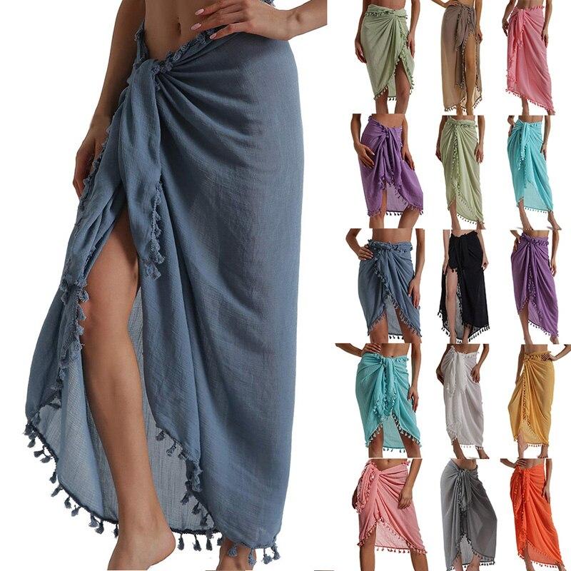 Beach Sarong Pareo Womens Semi-Sheer Swimwear Cover Ups Short Skirt with Tassels 2