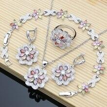 Flor multicolorido zircon 925 conjuntos de jóias de prata para casamento feminino brincos/pingente/anel/pulseira/colar conjunto