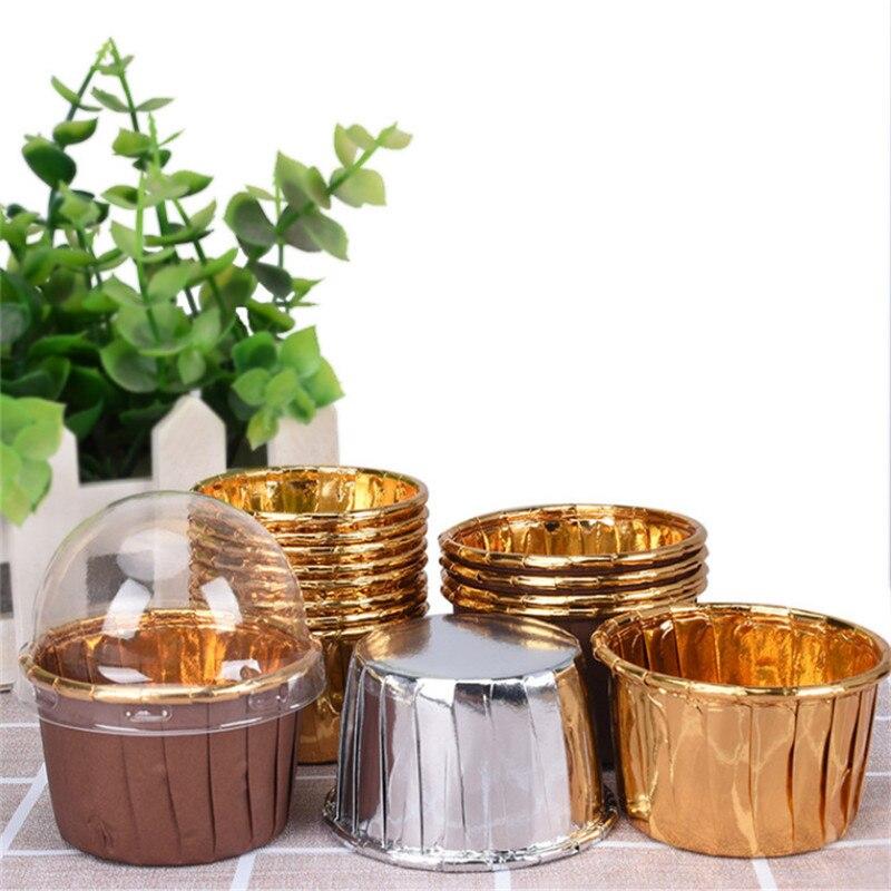 50 шт., средний 4435 кекс, маслостойкий чехол для чашки для выпечки, свадебные, рождественские, вечерние, золотые, Маффин, обертка