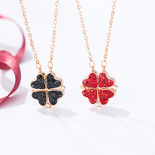 Four Leaf Clover Necklace Hearts Pendant Fodable Rotating Unique Designs Lucky Fortune Choker Necklace for Women Girls Jewelry black leaf pendant cord choker necklace