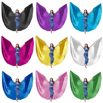Nowe skrzydła Isis taniec motyl dla kobiet cygańskich spódnica karnawał Party występ na scenie taniec brzucha nosić złote kostiumy tanie i dobre opinie WOMEN Butterfly wings Poliester Solid One size 11Color Wing+ Stick(Need Purchase) Butterfly Wings for women Belly dance skirt