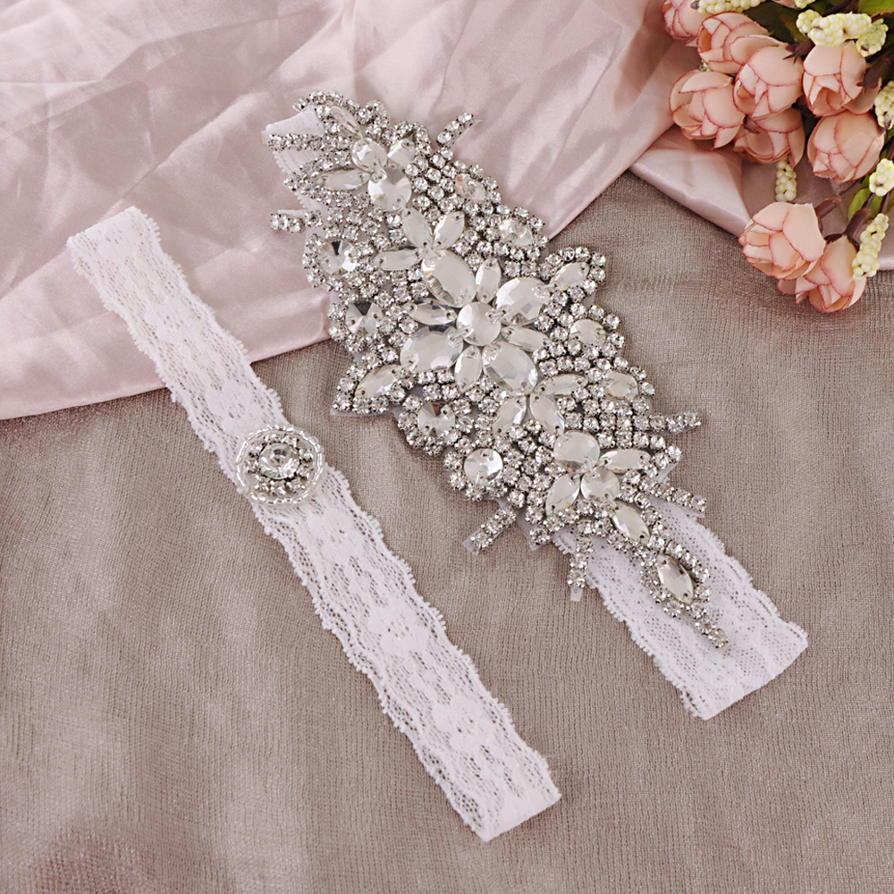 TRiXY THS01 TH21 Lace Wedding Garter Rhinestone Floral Sexy Garters For Women/Female/Bride Thigh Ring Bridal Lace Leg Ring Loop