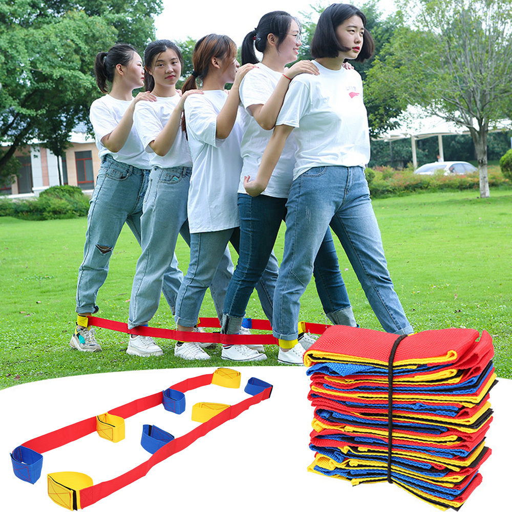 Funny 4 Legged Race Bands Children Outdoor Sports Toys Outdoor Game For Kids Adults Team Birthday Party Games With Carry Bag