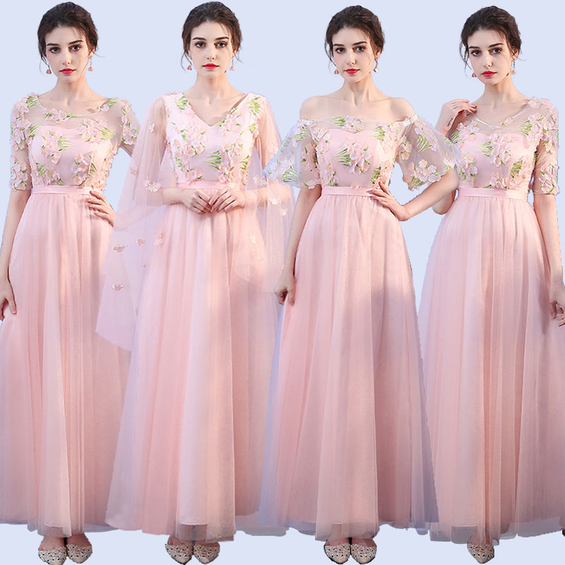 Pink Bridesmaid Dress Junior Plus SizeTulle Elegant Dress Women For Wedding Party Club Sexy Prom Dress Floor-Length Vestidos