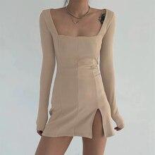 HEYounGIRL Split Side Solid Bodycon Mini Dress Women Square Collar Ribbed Casual Short Dresses Ladies Long Sleeve Korean Fashion