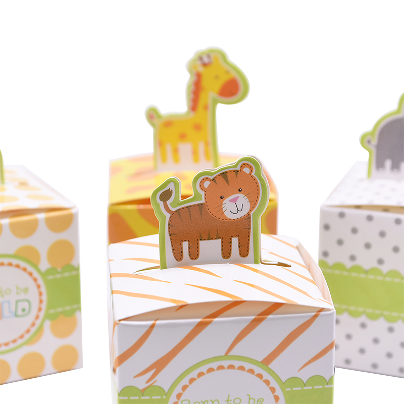 20pcs Cartoon Animal Gift Packing Box Paper Tiger Giraffe Monkey Animal Party Decoration Kdis Party Favors Candies Box
