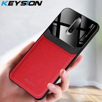 Перейти на Алиэкспресс и купить KEYSION ударопрочный чехол для Xiaomi Redmi K30 K20 Pro Note 8 Pro 8T Кожаный стеклянный силиконовый чехол для задней панели телефона для Xiaomi POCO X2