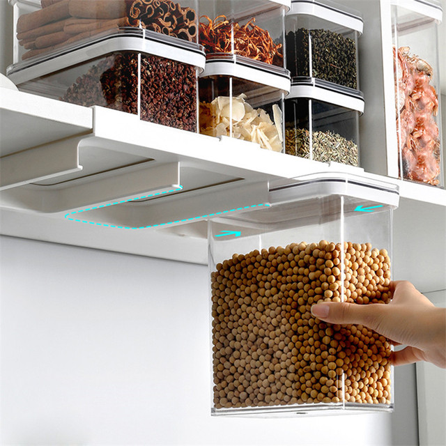 Grains Storage Box with Shelf Wall Mounted Container Plastic Storage Container for Coffee Grains Cereals Kitchen Accessories