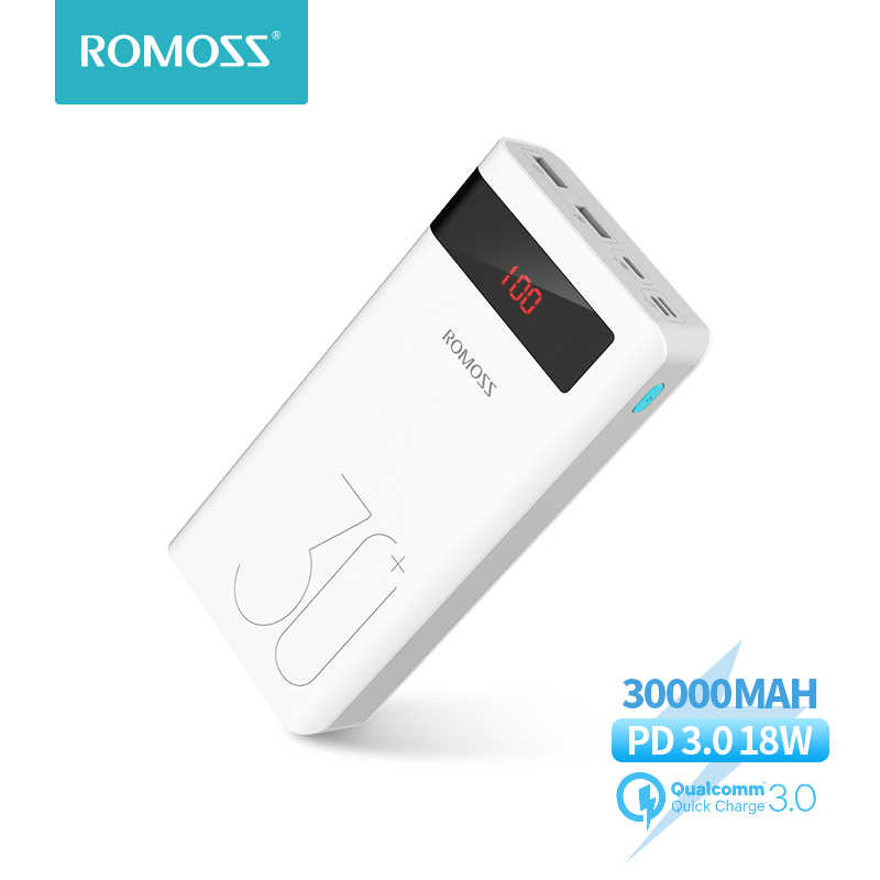 ROMOSS 30000mAh batterie de secours PD Charge rapide Powerbank PD 3.0 Charge rapide Portable chargeur de batterie externe pour iPhone pour Xiaomi