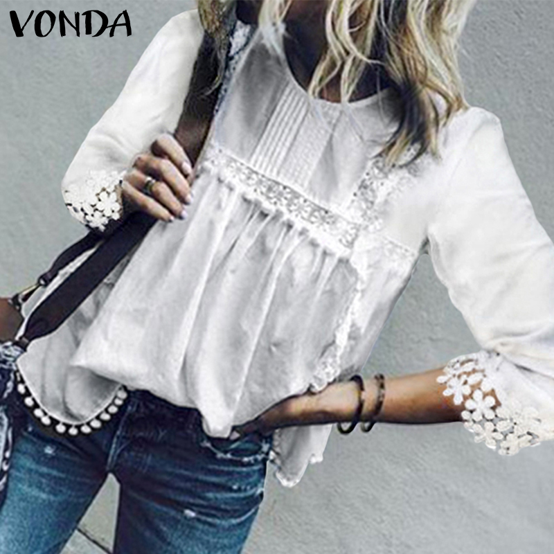 VONDA Womens Tops And Blouses Sexy O-Neck 3/4 Sleeve Hollow Out Blouse 2020 Summer Solid Shirt Bohemian Tops Plus Szie S-5XL