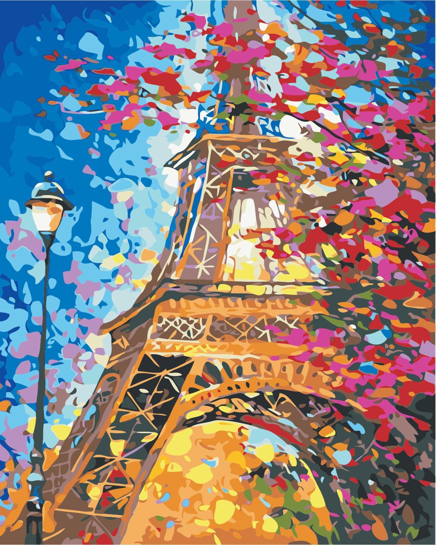 Картина с Башней, пейзаж, сделай сам, картина по номерам, современная настенная художественная картина, уникальный подарок, акриловая краска по номерам, домашнее искусство|Картина по номерам| | - AliExpress