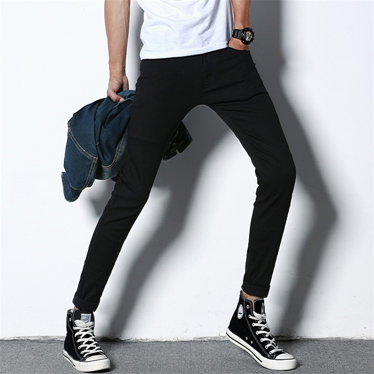 Summer Thin Section Elasticity Jeans Men's Slim Fit Men Skinny Pants Black And White With Pattern Casual Pants Men's Korean-styl