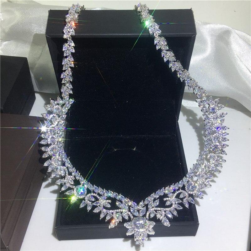 Collier de fleurs de luxe AAAAA cz or blanc rempli fête de mariage déclaration pendentif necalace pour les femmes bijoux de mariée cadeau