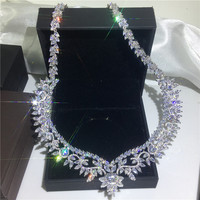 Luxury Flower necklace AAAAA cz White Gold Filled Party Wedding Statement Pendant necalace for women Bridal Jewelry Gift