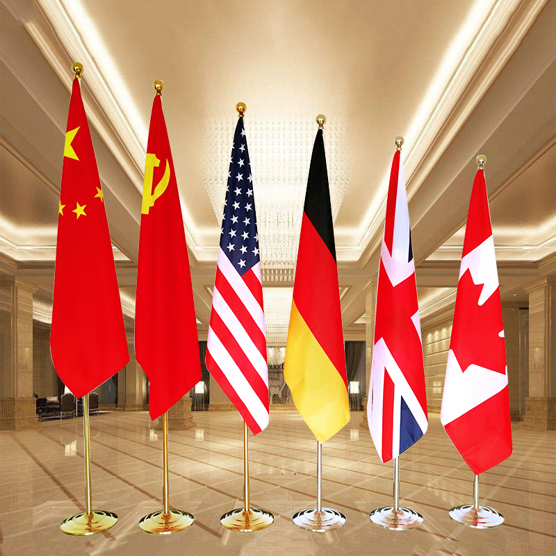 1 Sets, 2m Length Hot Sale Office Country Indoor Gold Silver Telescopic Flag Poles With Flagpole Base,MHP-24