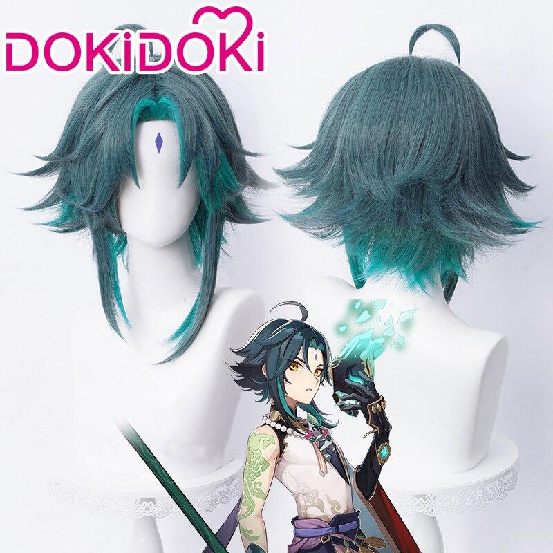 DokiDoki игра Genshin воздействия Косплэй Хэллоуин крепление для спортивной камеры Xiao Косплэй парик Genshin воздействия крепление для спортивной кам...