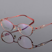 HOTOCHKI Alloy Elegant Women Glasses Frame Female Vintage Optical Glasses Plain Eye Box Eyeglasses Frames Myopia Eyewear