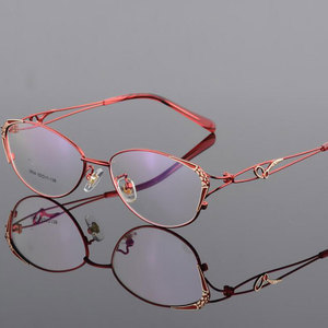 Image 1 - HOTOCHKI Alloy Elegant Women Glasses Frame Female Vintage Optical Glasses Plain Eye Box Eyeglasses Frames Myopia Eyewear
