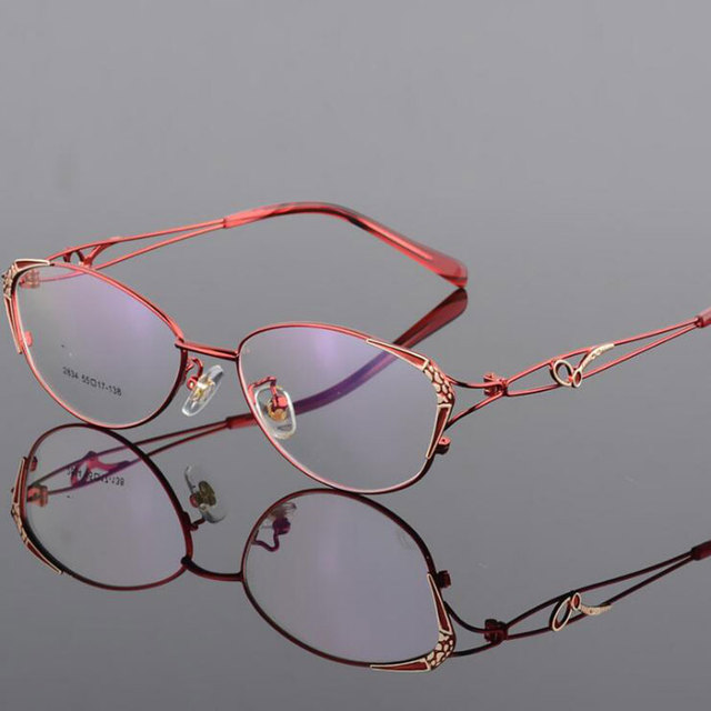 HOTOCHKI Alloy Elegant Women Glasses Frame Female Vintage Optical Glasses Plain Eye Box Eyeglasses Frames Myopia Eyewear