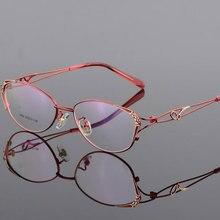 HOTOCHKI Legering Elegante Vrouwen Glazen Frame Vrouwelijke Vintage Optische Glazen Vlakte Oog Doos Brillen Frames Bijziendheid Eyewear