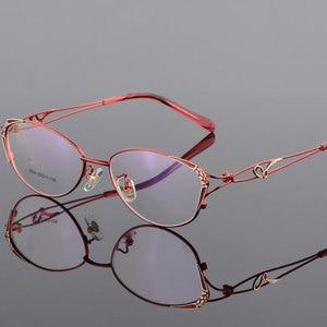Image 1 - HOTOCHKI Legering Elegante Vrouwen Glazen Frame Vrouwelijke Vintage Optische Glazen Vlakte Oog Doos Brillen Frames Bijziendheid Eyewear