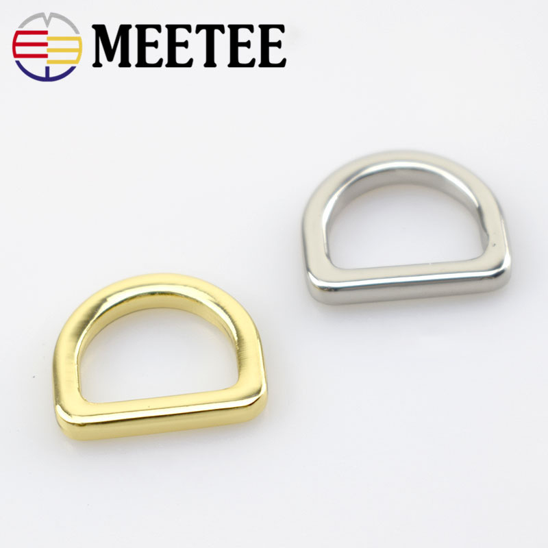 Meetee 10pcs D Ring Metal Buckles for Handbags Luggage Hardware Accessories Fashion Shoes Clothing Decorative Buckle