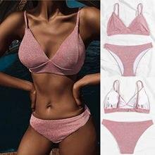 Conjunto de Bikini de encaje liso para mujer, ropa de baño de realce, ropa de playa, bañador acolchado de venta al por mayor, bikini de cerezas 2021