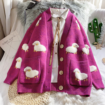 Autumn Winter Knitted Female Cardigan Loose Streetwear Knit Sweater Coat Cute Cartoon Print V Neck knitted cardigan Women Jacket 2