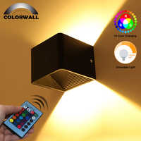 Dimmable 3W RGB LED Wall Sconce AC85-265V Square Wall Lamp with Remote Control Fit for Party Holiday Home Decoration Lighting