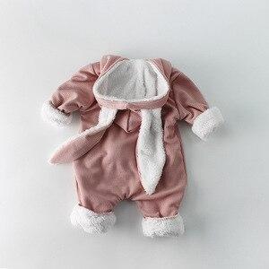 Зимние детские комбинезоны, Одежда для новорожденных мальчиков и девочек, комбинезон с капюшоном с кроличьими ушками, костюм для младенцев, флисовый Плотный Комбинезон для маленьких мальчиков, пижамы|Ромперы|   | АлиЭкспресс