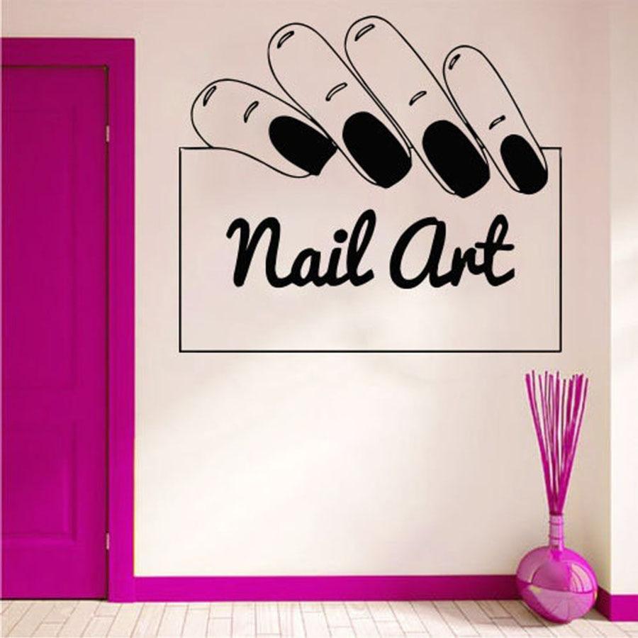Nail Art Wall Decal Beauty Salon Woman Nails Salon Interior Decor Manicure Design Vinyl Window Glass Stickers Removable S933