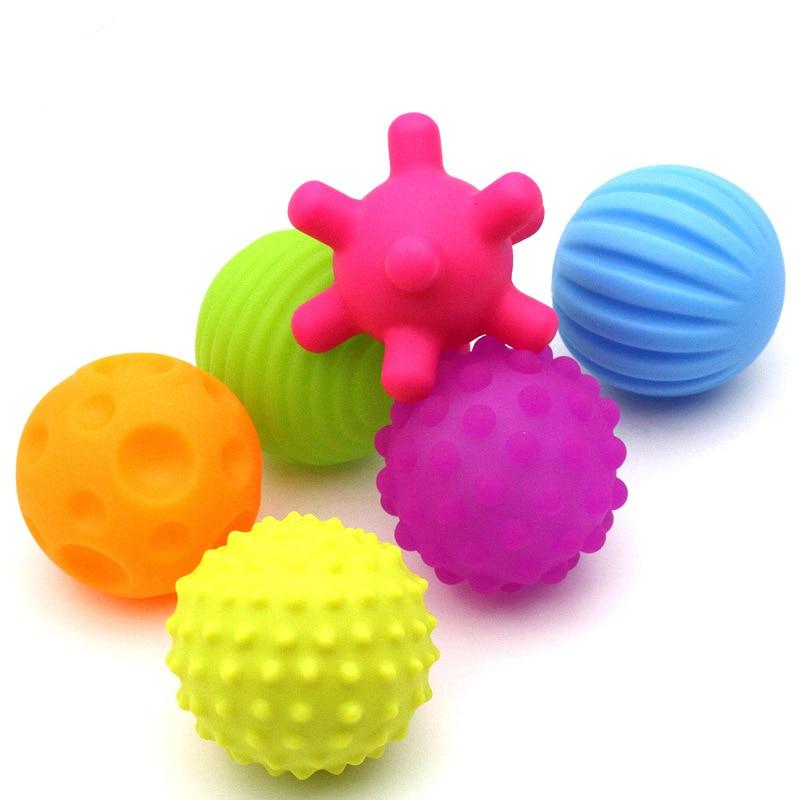 Baby Kids Textured Tactile Sensory Stress Balls Soft Rubber Hand Massage Training Balls Sounding Toys For Children