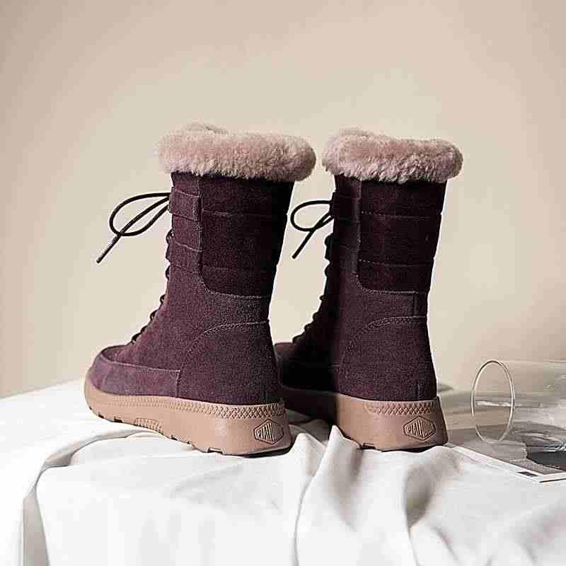 Krazing Pot süper sıcak inek deri kar botları moda yuvarlak ayak med topuklar lace up eğlence rahat kadın temel orta buzağı çizmeler L20