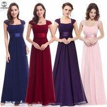 Skyyue Bridesmaid Dress Boat Neck Sleeveless Long Vestido Madrinha 2019 Elegant Plus Size Chiffon Women Party for Girls C504