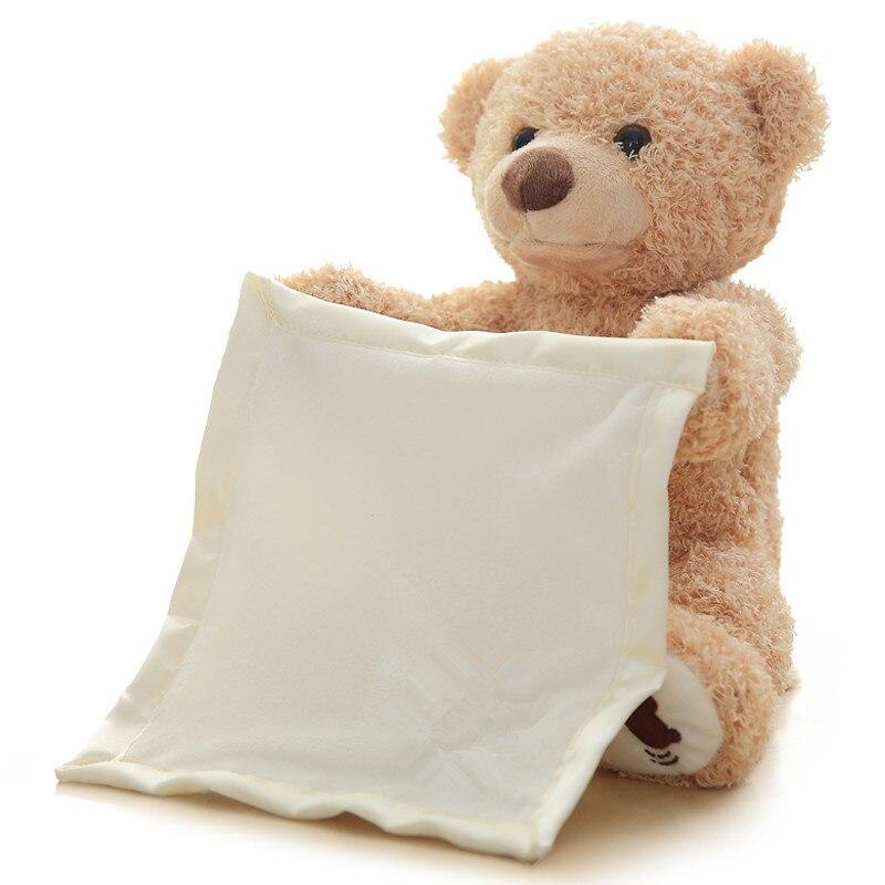Azoo 30cm Peek a Boo Teddy Bear Play Hide Seek Mooie Cartoon Gevulde Kids Verjaardag Xmas Gift Leuke Elektrische muziek Beer Knu