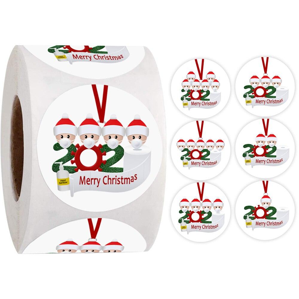 500 Merry Christmas Stickers 2020 Christmas Quarantine Survivor Round Label Stickers Envelope Sticke