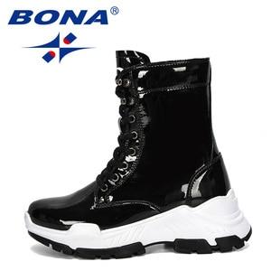 Image 4 - BONA 2019 nowi projektanci ciepła platforma kobieta śnieg buty pluszowe kobiece trampki Outdoor Snowboots ciepłe buty buty damskie